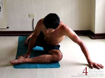 Prone Yoga Poses, pigeon pose with shin parallel to front of mat, Neil Keleher, Sensational Yoga Poses