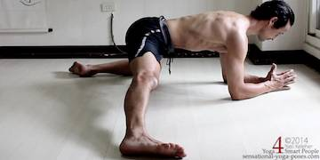half split adductor stretch with elbows on the floor