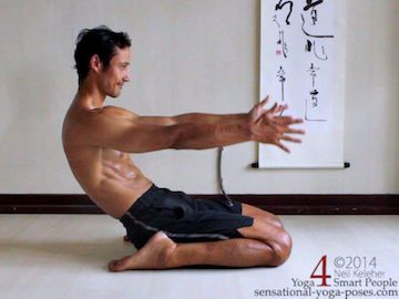 bent back hero pose, a stretch for the spinal erectors. Neil Keleher, Sensational Yoga Poses.
