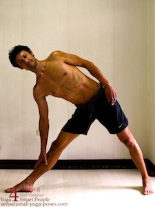 Entering into triangle pose starting with feet separated with one foot turned out 90 degrees and the other foot turned in with the pelvis tilted towards the turned out foot. Sensational Yoga Poses Neil Keleher