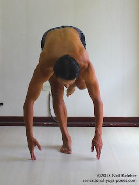 balancing on one leg and slowly bending forwards while keeping the lifted knee pulled forwards. This photo shows the finishing position with hands touching the floor. View from the front. Neil Keleher. Sensational Yoga Poses.
