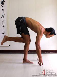 balancing on one leg and slowly bending forwards while keeping the lifted knee pulled forwards. This photo shows the finishing position with hands touching the floor. View from the side. Neil Keleher. Sensational Yoga Poses.