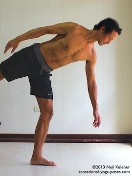 Balancing on one foot while moving into half moon yoga pose (ardha chandrasana. Standing with the foot turned out, turn the pelvis to the front and slowly reach to the floor while lifting the free leg. This picture shows the the mid-point position with weight on one leg pelvis facing the front and bottom arm reaching towards the floor. Torso is nearly horizontal. Neil Keleher. Sensational Yoga Poses.