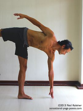 Balancing on one foot while moving into half moon yoga pose (ardha chandrasana. Standing with the foot turned out, turn the pelvis to the front and slowly reach to the floor while lifting the free leg. This picture shows the starting position with weight on one leg and the other leg slightly lifted. Neil Keleher. Sensational Yoga Poses.