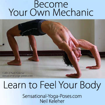 learn to feel your body, wheel pose with head 6 inches off of the floor, wheel pose with elbows bent, become your own mechanic
