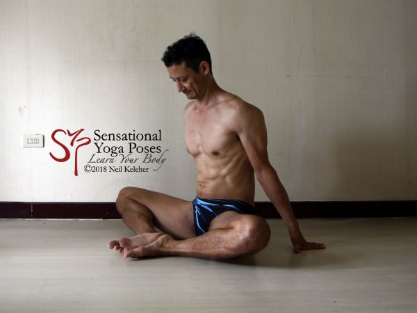 Bound angle with soles of the feet turned upwards with the aid of tibialis anterior. Neil Keleher. Sensational Yoga Poses.
