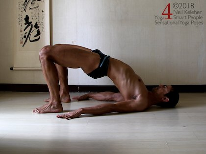 Doing bridge with hands unclapsed, use the rhomboids to draw the shoulder blades towards each other. Neil Keleher. Sensational Yoga Poses.