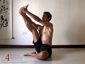 In this seated hamstring stretch, you may find you get anterior hip pain if you move your lifted leg inwards. Neil Keleher. Sensational Yoga Poses.