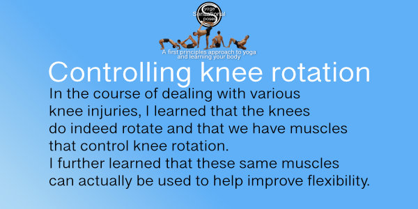 In the course of dealing with various knee injuries, I learned that the knees do indeed rotate and that we have muscles that control knee rotation. I further learned that these same muscles can actually be used to help improve flexibility.  Neil Keleher, Sensational Yoga Poses.