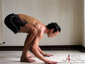 crow pose prep, weight on feet