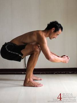 Learning to do deep squats (without weight), weight shifting with thighs horizontal, Neil Keleher, sensational yoga poses.