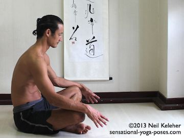 easy breathing (or costal breathing with spine relaxed. Ribcage is bend forwards so that chest sinks down and head sinks forwards and down (couch potato posiition). This is the end of the exhale phase. Neil Keleher. Sensational Yoga Poses.