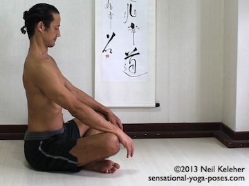 Easy breathing (or costal breathing) with spine long. Ribs move away from pelvis. Ribs are spread apart. Head is pulled up and back from ribcage so that neck is long. This is the end of the inhale phase. Neil Keleher. Sensational Yoga Poses.