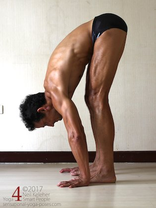 Arm strengthening standing forward bend: shifting weight onto your hands and pushing downwards.  Neil Keleher. Sensational Yoga Poses.