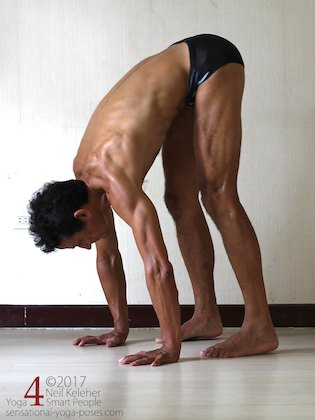 Arm strengthening standing forward bend: pushing into hands with fingers forwards. Neil Keleher. Sensational Yoga Poses.