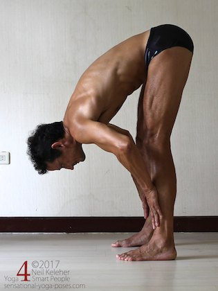 Arm strengthening standing forward bend: Pushing against your shins (but resisting with your abs).  Neil Keleher. Sensational Yoga Poses.