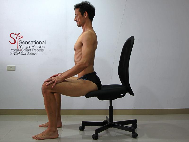 Seated Lumbar Backbend 2. Lift your sacrum so that your pelvis rolls forwards and your lumbar spine bends backwards or extends. Feel your lumbar spinal erectors activating. Neil Keleher, sensational yoga poses.