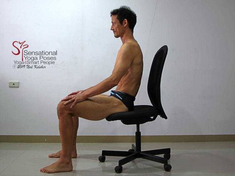 Seated Lumbar forward bending (flexion) 2, sacrum dropped so that pelvis tilts backwards and lumbar spine flattens. Note how ribcage moves rearwards relative to the pelvis. Neil Keleher, sensational yoga poses.