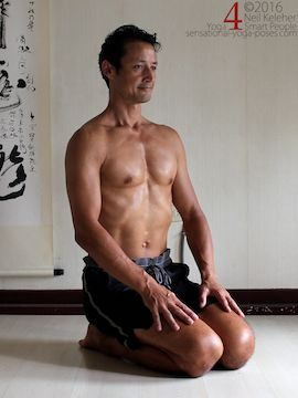 Prone Yoga Poses, kneeling as frog pose prep, Neil Keleher, Sensational Yoga Poses