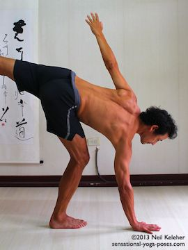 Touching the hand to the floor in half moon pose by bending the standing leg knee. Neil Keleher, Sensational Yoga Poses.
