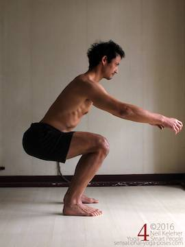 Learning to do deep squats (without weight), thighs horizontal and spine neutral, Neil Keleher, sensational yoga poses.