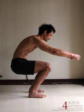 Learning to do deep squats (without weight), thighs horizontal and spine bent forwards, Neil Keleher, sensational yoga poses.