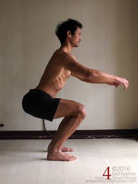 Learning to do deep squats (without weight), thighs horizontal and  spine bent backwards, Neil Keleher, sensational yoga poses.