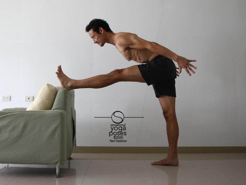 Standing hamstring stretch with one leg supported and stretched. Neil Keleher, Sensational Yoga Poses.