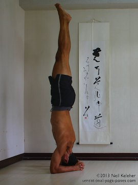 inverted yoga pose, balancing in headstand