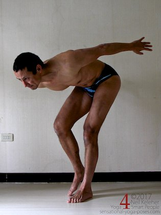 Standing on one leg while bent forwards and controlling pelvic side tilt to strengthen the hips. Neil Keleher. Sensational Yoga Poses.