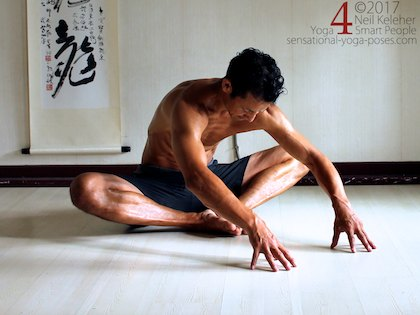 Bound angleforward bend for the hips with feet close to the pelvis. Neil Keleher. Sensational Yoga Poses.