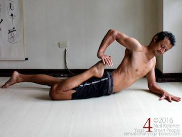 Prone Yoga Poses, frog pose quad stretch, Neil Keleher, Sensational Yoga Poses