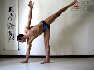 Balancing in half moon pose with hand on the floor. Neil Keleher, Sensational Yoga Poses