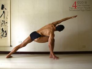 Side Angle yoga pose with hand on floor outside foot. Neil Keleher, Sensational Yoga Poses.