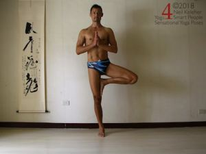 Standing yoga poses: Tree pose.  Weight is centered over the standing foot. Other foot is lifted with knee bent and lifted foot placed against the inner thigh of the standing leg. Torso is upright with head in line with torso. Gaze is directed straight ahead. Hands are together in a prayer position in front of the chest with elbows bent. Neil Keleher. Sensational Yoga Poses.