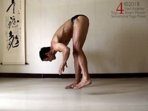 Standing Yoga Poses: Standing forward bend on one foot. Torso is bent forwards at the hips. Weight is centered over one foot. Supporting leg knee is straight. Foot is flat on the floor. Other foot is slightly lifted. Hands are lifted with elbows bent.  Neil Keleher. Sensational Yoga Poses.