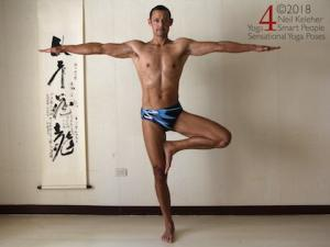 Tree pose with arms to the side. Neil Keleher, Sensational Yoga Poses