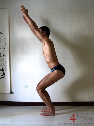 Knee strengthening exercise: chair pose with thighs at 45 degrees above the horizontal. Neil Keleher.
