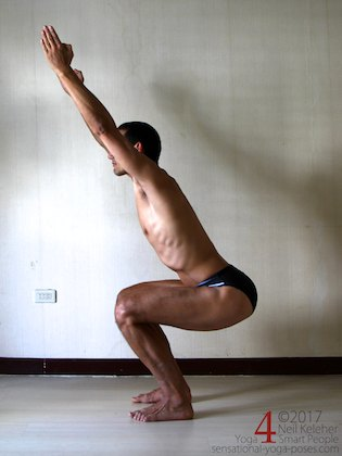 Knee strengthening exericse: chair pose with thighs horizontaol. Neil Keleher, sensational yoga poses.