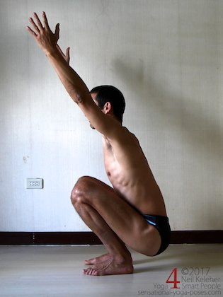 Knee strengthening exercises: deep squat, activate your knees and then relax them. Neil Keleher, sensational yoga poses.