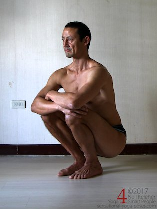 knee strengthening exercises: deep squat with feet parallel and close together. Neil Keleher, sensational yoga poses.
