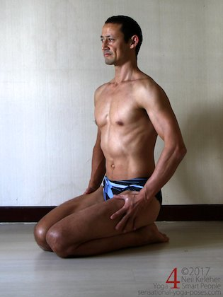 Knee strengthening exericses: while kneeling alternately activate and relax your knees.