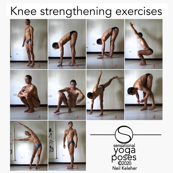 Knee strengthening exercises: Strengthen your knees by activating them while balancing on forefeet, while doing a standing twist, while doing a standing forward bend with heels lifted, and while doing revolving triangle pose. Neil Keleher, sensational yoga poses.