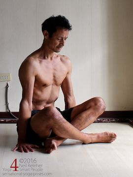 Scapular stabilization, pressing the shoulders down to lift the hips in dangle pose. Neil Keleher. Sensational Yoga Poses.