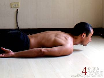 Prone Yoga Poses, Locust Pose head lift, Neil Keleher, Sensational Yoga Poses
