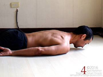 Prone Yoga Poses, locust pose head lift with neck straight,  Neil Keleher, Sensational Yoga Poses