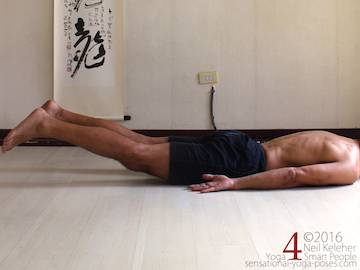 Prone Yoga Poses, locust pose leg lift, Neil Keleher, Sensational Yoga Poses
