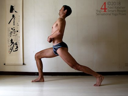 Back bending yoga poses: Lunge with back leg straight and lumbar and thoracic spine bent backwards using spinal erectors, gluteus maximus and hamstrings (of straight leg).