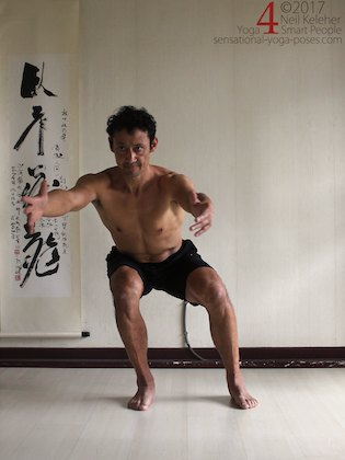 Learning the pistol squat, shifting weight to one leg in a thighs horizontal squat. Neil Keleher. Sensational Yoga Poses.