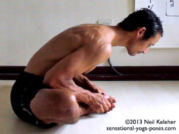 bound angle pose, Neil Keleher. Sensational Yoga Poses.